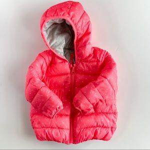 Gap hooded puffer jacket neon pink white 2T girls